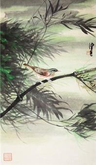竹鸟 立轴 设色纸本 by chen peiqiu