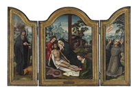 the lamentation, with the deposition beyond (+ 2 others; triptych) by ambrosius benson