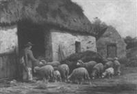ein schäfer bringt seine herde in den stall by gaston ernest lafenestre