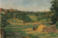 woman at a haystack, near paris by ellen fischer