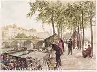 booksellers' stalls on the quai de conté along the seine, paris by william lambrecht