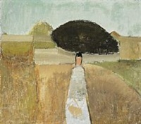 landscape with figure by johannes hofmeister