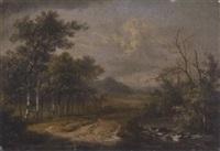 sommerlandschaft mit bachlauf und birken by augustus van den steene