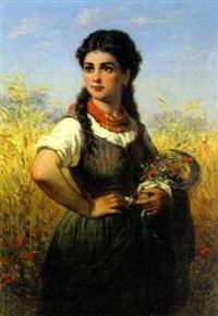 junge bäuerin mit wiesenblumenstrauß und handsichel vor kornfeld by august clemens humbert