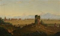 the roman campagna (+ view of the temples of paestum; pair) by joseph ropes