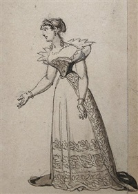 kostüme (12 costume designs on 1 sheet for die verschwörung des fiesko zu genua and die räuber by friedrich schiller) by johann michael (volz) voltz