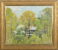 a house in the woods, springtime by john joseph enneking