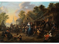 holländisches volksfest im freien zwischen alten gebäuden by bernardus van schendel