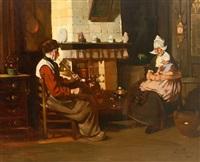 interieur einer holländischen stube; vor dem kamin sitzendes paar mit kleinkind by rudolf possin