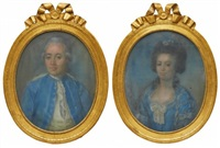 porträtt föreställande sannolikt anders magnus klingspor och dennes andra hustru juliana jakobina möllenhauer, borgholms kungsgård (pair) by anonymous-swedish