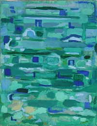 composition in green and blue by else fischer-hansen