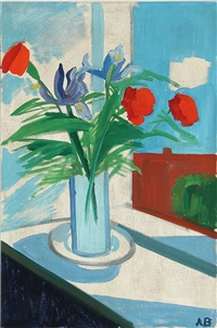 sill life with red and blue flowers in a vase by axel bentzen