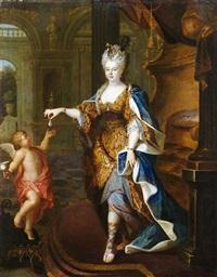 bildnis einer adeligen dame in palastinterieur, die amor eine perle überreicht by pierre gobert