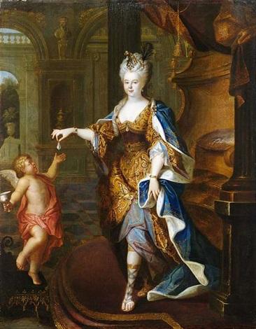 bildnis einer adeligen dame in palastinterieur die amor eine perle überreicht by pierre gobert