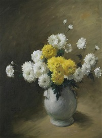 yellow and white chrysanthemums by frank s. bensing