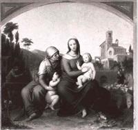 maria mit dem christkinde und elisabeth mit johannes, im  hintergrund links joseph, rechts zacharias by carl georg pfanschmidt