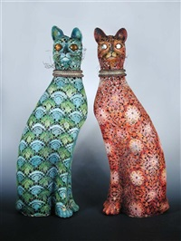 cats (pair) by lucette de la fougere