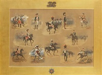 royal horse guards, 1815 (+ 5 others; 6 works) by reginald augustus wymer