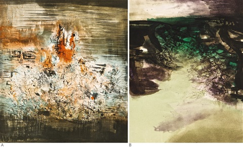 sans titre and canto pisan 2 works by zao wou ki