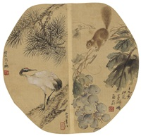倪田(1855-1919)、任预(1853-1901)、陆恢(1851-1920)、顾麟士(1865-1930) 松鼠白鹤 by ni tian, ren yu, lu hui, and gu linshi