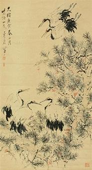 松荫双鹤 立轴 纸本 by xu gu