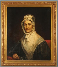 portrait of elderly woman in bonnet holding glasses by charles willson peale