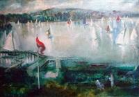régates sur le lac by jeannin