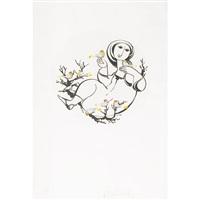 woman with birds by joyce wieland