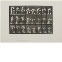 nude woman pouring jug of water, plate 413 from animal locomotion by eadweard muybridge