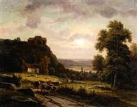 a cattle driver in a wide landscape, with a country church and cottage by carl rudolph huber