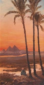 die pyramiden von gizeh im abendrot by voitler billney
