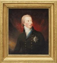 porträtt av hertig william fredrik av gloucester, klädd i uniform, vit halsduk samt strumpebandsordern by carl fredrik van breda