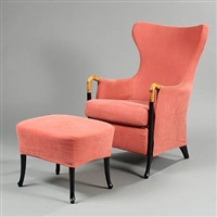 progetti easy chair with stool (pair) by umberto asnago