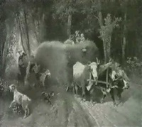 bauernfamilie mit heufuhrwerk auf dem waldweg by j. haug