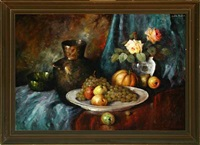 still life with fruit and vases on a table by carl h. fischer