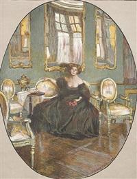 im garten - interieur mit eleganter dame. darstellung im oval by ferdinand dorsch