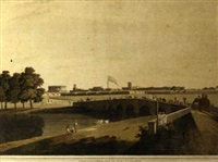 garden reach on the hooghly river, calcutta (+ another, similar; 2 works) by justinian gantz