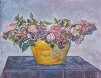 stillleben mit rosen - bouquet de roses by albert trachsel