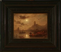 harbour scene in moonlight by franz kreuzer