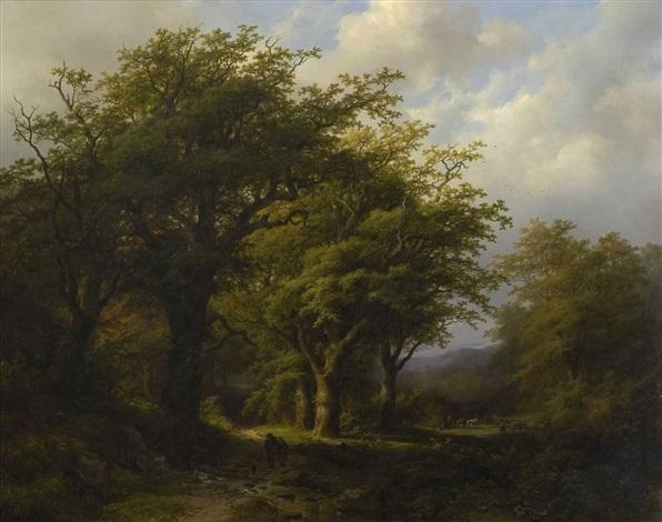 eichenwald mit figurenstaffage by johann bernard klombeck