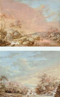 felsige landschaft mit wasserfall und holzbrücke im abendrot by carl sebastian von bemmel