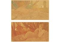 dawn・twilight (pair) by alphonse mucha