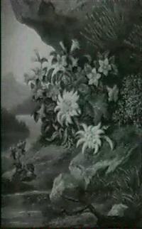 alpenblumen am gebirgsufer by victor max hutschenreiter
