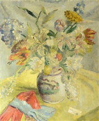 still life of flowers in a vase by cathleen s. mann