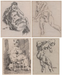 nude (sketch) (+ 3 others; 4 works) by aloys (wachlmayr) wach