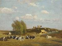 ruhende kühe in märkischer landschaft by oskar frenzel