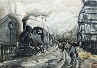 bahnhof mit personenstaffage und einfahrender dampflokomotive by willibald kramm