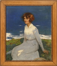 a young woman by the shore by john newton howitt