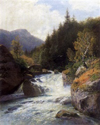 gischtender waldbach by wilhelm julius august nabert