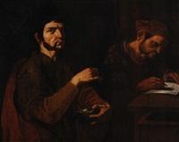 gentiluomo con anello e scrigno nella mano sinistra e scrivano by pietro paolini